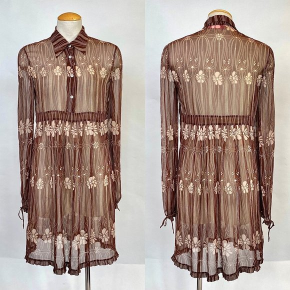 Miu Miu Dresses & Skirts - Miu Miu Sheer Silk Floral Dress